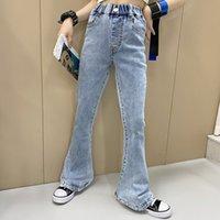Moda Eski Çocuk Kot 2021 Bahar Çocuk Yüksek Bel Denim Pantolon Kızlar Tüm Maç Kovboy Flared Pantolon A6279