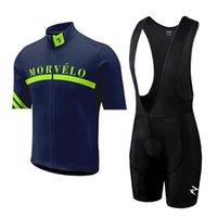 Morvelo Team Manga corta Pro Ciclismo Jersey Camisa de bicicleta / bicicleta BIB Shorts Hombres Ciclismo Ropa S081701