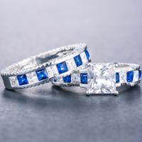 Choucong Unique Luxury Jewelry 925 Sterling Silver Princess Cut Emerald Cut Topaz Gemstones Party Eternity Bridal Ring Set 81 L2