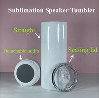 Sublimation Bluetooth haut-parleur Tumbler 20oz Tumblers droits Coloful Audio Acier inoxydable Fond Coly Music Coupe Creative Double Wall Tasse