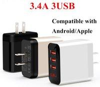 17W adaptador rápido carregador de parede adaptativo qualidade superior 5v 3a USB 3 portas 3usb rápido carregamento viagens universal us plug plug pack poder