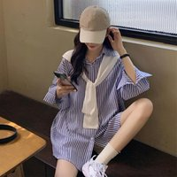 Long Sleeve Tops Women Casual Shirts Striped Blouses Shawl Suits Loose Turn-down Collar Women's &