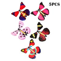 5 Pcs Magic Flying Butterfly Fun Toy in the Book Fairy Rubber Band Powered Wind Up Great Surprise Gifts
