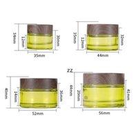 Zeytin Yeşil Cam Kozmetik Kavanozlar Boş Makyaj Örnek Kaplar Şişe Ahşap Tahıl Sızdırmaz Plastik Kapaklar BPA Losyon için Ücretsiz, HWD8931