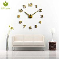 Moderno 3D Relojes de pared sin marco DIY Relojes Gran espejo Superficie MUDE MUDE MUJO RELOJ DE RELOJ DE LA OFICINA DE OFICINA DE OFICINA DE OFICINA ADORACIONES NINGÚN BATERÍA H0922