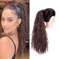 Synthetic Wigs Alileader 22Inch Blonde Long Curly Wavy Ponytail Hairpiece Wrap On Clip Fack Hair Ombre Corn