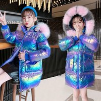 Down Coat Winter Jacket For Girls Children's Clothing Colorful Bright Face Thick Wash Free Artifical Fur 5-12 Years Kids Parkas