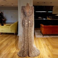 Elegant Deep V Neck mermaid Evening Dress with panel Sparkly vestaglia donna Sequin Beaded Crystals Long Prom Dresses High Split Glitter Formal Party Gowns