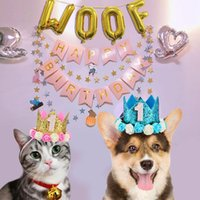 For Pet Dog Puppy Kitten Party Banner Happy Birthday Letter Woof Balloons Hat Set Manual Air Pump Supplies Cat Toys