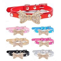 Dog Collars & Leashes Cool Small Dogs Bling Crystal Bow Leather Pet Collar Puppy Choker Cat Necklace Harness Leash Accessories