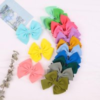 Hair Accessories 4.5 Inches Cotton Linen Bows With Clip Girls Solid Color Handmade Hairgrip Barrettes Headwear Acesssories