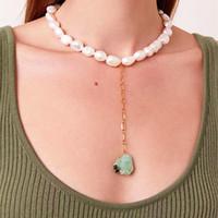 Кулон Ожерелья Boho Quiver de Moda 2021 Оптовая Винтаж Вечный Натуральный Пресноводный Жемчужный Ожерелье Зеленый Камень