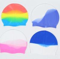 غطاء السباحة بالجملة متعدد الألوان للجنسين سيليكون للشعر الطويل للماء الغوص كاب المهنية السباحة قبعة الاستمرار شعر الكبار جي 3367