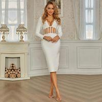 Günlük Elbiseler Swtao Seksi Dantel Mesh Midi Beyaz Kadınlar Uzun Kollu Bandaj Elbise Legg Bayanlar Zarif Bodycon Akşam Kulübü Parti Vestido