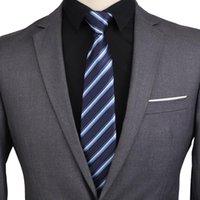 Gravata Gravatas Paisley Zipper para Homens 8cm Laço Skinny Sólida Silk Silk Gravatas Automático Azul Azul Masculino