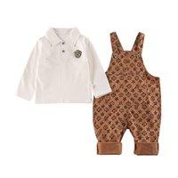 5sets / dhl 80-120cm 키즈 스스 센더 바지 세트 디자이너 턱받이 바지와 폴로 풀오버 티셔츠 2 피스 의류 세트 유행 아기 유아 세트 HIP 바지 G4IKI3P