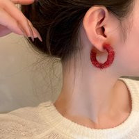 2021 New Winter Fashion Red Hoop Earrings For Women Korean Style Simple Earings