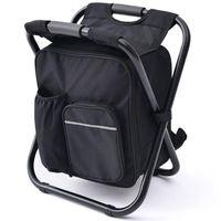 Taburete de camping portátil de silla de mochila plegable con bolsa de enfriador de tela Oxford de doble capa para accesorios de pesca