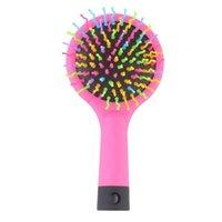 Volume do arco-íris Anti-estático Detangler Cabelo Curl Reta Massagem Pente Escova de Cor Estilo Ferramentas com Espelho Escovas Elétricas