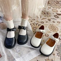 Dress Shoes Lolita Mary Jane with lace, girls, round beak, low heel, leather, casual, retro strip buckle, low-female 8992n shoes VY0P