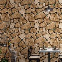 Fondos de pantalla Vintage Piedra cultural Papeles de pared 3 D Wateroproof Rock Wallpaper Roll For Bar Shop Restaurant Walls Fondo Decoración