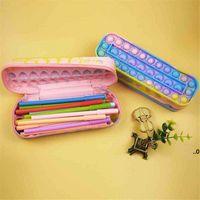 Канцтерный чехол для карандаша детская радуга пузырь силиконовая большая емкость хранения канцтовары коробка игрушки Pioneer Sensory FIDGET FWB9399
