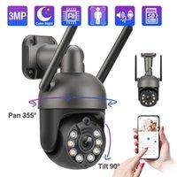 Kameralar Techage 3MP Kablosuz PTZ Kamera Tam Renkli Gece İnsan Algılama Iki Yönlü Ses Kayıt Wifi Açık Hız Dome CCTV Video