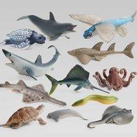 Simulación Océano Animal Modelo Conjuntos Figuras Shark Ballena Tortuga Dolphin Flying Fish Sailfish Swordfish Eel Action Figurines Juguetes