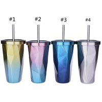 500ml Gradient diamond Stainless Steel tumbler coffee Mug with Lid and straw Drinking cup Double walled Straws Travel Mugs