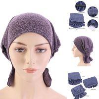Beanie Skull Caps Y30 Women Stretchy Hijabs Hat Turban Cross Head Wrap Chemo Bandana Muslim Scarf Plain Ethnic Black Blue Hats Headwear