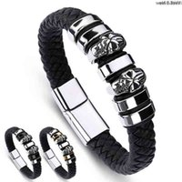 Teppich heißer verkauf männer armband schädel magnet schnalle personalisierte titanium stahl hochwertig leder armband herren armbänder