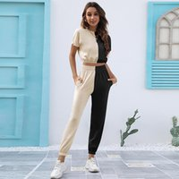 Women's Two Piece Pants Colorblock Tracksuit Women Set Summer Clothes Short Sleeve Crop Top And Suit Casual Sets Jogging Outfits