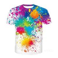 애니메이션 3D 인쇄 캐주얼 레인보우 페인트 T 셔츠 가로류 남자 다채로운 여성 패션 T 셔츠 하라주쿠 키즈 셔츠 대형 Tshirt 남자의 T-Shir