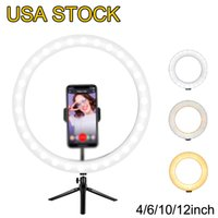 """6 """"Selfie Ring Light with Treppied Stand - Dimmable Desktop Ramport Porte USB, luci del cerchio Lampato a LED per flusso / trucco"""