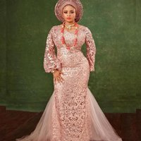 Elegant Long Sleeve Full Lace Prom Dresses Mermaid Formal Evening Dress Party Gowns African Nigeria Celebrity Wear Plus Size