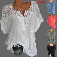 2021 Boutique Womens Blue shirt Wholesale Fashion Lace V neck Embroidered Short sleeved Bat Blouse