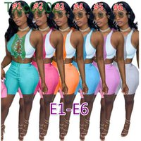 Women Two Piece Sets Designer Tracksuits Slim Sexy Summer Round Neck Color Contrast Splicing Strap Hollow Out Sleeveless Vest Shorts 34