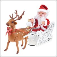 Christmas Festive Party Supplies Home & Gardenchristmas Decorations Electric Toy Elk Sleigh Deer Car Santa Claus Sled Doll Music Gift Xmas D