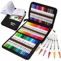 12-160 Renkler Fırça Kalem İşaretleyiciler Set Çift İpuçları Ince Çizim Yetişkin Boyama Kitaplar Eskiz Planlayıcısı Okul Malzemeleri Çocuk Hediyeler
