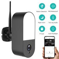 무선 보안 투광기 카메라, 야외 비전, 양방향 오디오, AI 휴머노이드 탐지 IP 카메라가있는 2MP 야외 WiFi 감시 카메라