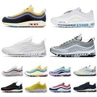 97 الاحذية في جميع أنحاء العالم يسوع الثلاثي أسود أبيض رجالي 97S مدرب غير مهزوم عاكس bred game royal sneakers