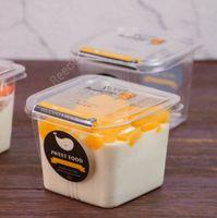 Caja de pastel transparente Transparente Mousse cuadrado Cajas de cupcake de plástico con tapa Yoguro Pudín Suministros de boda DHR18
