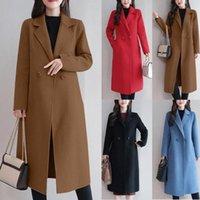 Yeni 2019 Karışımları Yünler Palto Kadın Ceket Sonbahar Kışlık Mont Kadınlar Casual Düğme Ceket Zarif Uzun Kollu Çalışma Ceket Pamuk Ceket Deri Ceket V8KT #