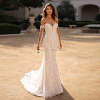 Encantador Vestido de novia sirena, escote Corazn, Apliques encaje, largo, hombros scubiertos, Formal, novia, 2021