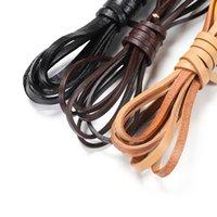 2m / lot réel véritable cuir de vachette cuir de cordon de corde plate corde bracelet collier diy 2/3/4/5/6/8 / 10mm Accessoires de bijoux