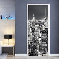 Fond d'écran 3D Noir Ville Blanche Paysage Scénario Salon Mural Salle d'étude Stickers de porte PVC Auto Adhésif Étanche Papier de mur 210317