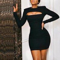 Casual Dresses Cocktail Party Club Dress Female Vestibule 2021 Semi-formal Ladies Mini Sexy Black Long Sleeve Short Tight
