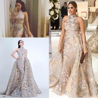 Sequined Appliques Mermaid Overskirt Evening Dresses 2018 Yousef Aljasmi Dubai Arabic High Neck Plus Size Occasion Prom Party Dre
