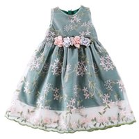 Girl's Dresses Baby Girls Clothes 3 To 14 Years Summer Sleeveless Party Wedding Flower Embroidery Kids Green Pink Lace