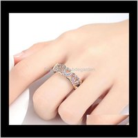 Band Drop Delivery 2021 Romantic Sier Color To Love Heart Ring Colorful Crystal Rings For Women Bridal Wedding Jewelry Dropship Ibtih